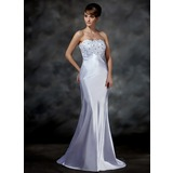 Trumpet/Mermaid Sweetheart Sweep Train Charmeuse Wedding Dress With Lace Beading (002001615)