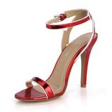 Женщины Лакированная кожа Высокий тонкий каблук Сандалии На каблуках Открытый мыс с пряжка обувь (087051702)