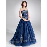 Duchesse-Linie Herzausschnitt Bodenlang Organza Quinceañera Kleid (Kleid für die Geburtstagsfeier) mit Bestickt Perlen verziert (021004556)