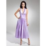Vestidos princesa/ Formato A Cabresto Comprimento médio Charmeuse Vestido de boas vindas com Renda Bordado Plissada (022014973)