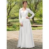 Vestidos princesa/ Formato A Decote redondo Longos De chiffon Charmeuse Vestido de noiva com Pregueado Bordado (002012022)