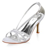Women's Satin Stiletto Heel Sandals With Buckle Rhinestone (047005863)