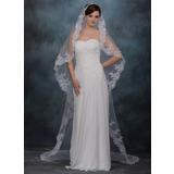 Uma camada Catedral véus de noivas com Borda com aplicação de renda (006020339)