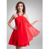Vestidos princesa/ Formato A Cabresto Curto/Mini De chiffon Vestido de boas vindas com Bordado (022004625)