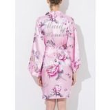 Silk Bridesmaid Floral Robes Glitter Print Robes (248176074)