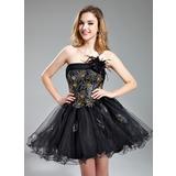 Vestidos princesa/ Formato A Sem Alças Curto/Mini Tule Vestido de boas vindas com Renda Bordado Pena Lantejoulas (022019583)