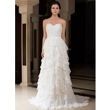 A-Line/Princess Sweetheart Sweep Train Charmeuse Wedding Dress With Beading Cascading Ruffles (007027466)
