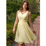 Chiffon V-neck Knee-length A-Line Bridesmaid Dress (007027162)