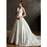 Ball-Gown V-neck Chapel Train Satin Wedding Dress With Embroidered Beading Sequins (002011506)