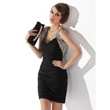 Платье-чехол V-образный Мини-платье шифон Коктейльные Платье с Рябь Бисер блестками (016020949)