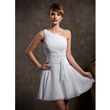 Vestidos princesa/ Formato A Um ombro Curto/Mini De chiffon Vestido de madrinha com Pregueado (007014484)