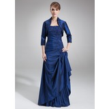 A-Line Strapless Floor-Length Taffeta Mother of the Bride Dress With Lace Beading Sequins Cascading Ruffles (008006462)