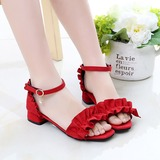 Girl's Peep Toe Suede Sandals Flats With Ruffles Button (207202430)