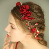 Ladies Gorgeous Silk Flower Headbands With Venetian Pearl/Crystal (Sold in single piece) (042192976)