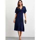 A-Line V-neck Tea-Length Homecoming Dress (022209556)