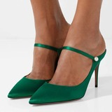 Women's Silk Spool Heel Pumps Closed Toe Slingbacks Mary Jane shoes (085182664)