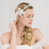 Ladies Beautiful Polyester Headbands With Rhinestone/Venetian Pearl (Sold in single piece) (042189544)