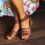 Женщины кожа PU Устойчивый каблук На каблуках Открытый мыс с Застежка-молния обувь (087211427)