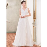 A-Line/Princess V-neck Court Train Chiffon Wedding Dress With Beading Appliques Lace Sequins Cascading Ruffles (002040421)