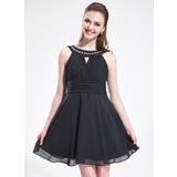 Vestidos princesa/ Formato A Decote redondo Curto/Mini De chiffon Vestido de boas vindas com Pregueado Bordado (022025587)