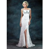 Trumpet/Mermaid Off-the-Shoulder Sweep Train Lace Mother of the Bride Dress With Ruffle Beading Sequins Split Front (008006400)