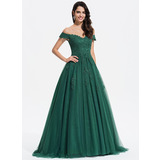 De Baile/Princess Decote V Sweep/Brush trem Tule Vestido de festa com Renda (017196074)