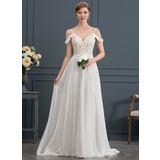 A-Line/Princess Sweetheart Sweep Train Chiffon Wedding Dress With Beading Sequins (002171955)