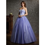 Ball-Gown Sweetheart Floor-Length Tulle Quinceanera Dress With Beading Appliques Lace (021004601)