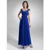 Vestidos princesa/ Formato A Decote V Longuete De chiffon Vestido de festa com Pregueado Bordado fecho de correr (017020710)