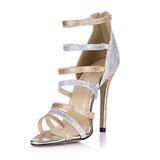 Mulheres Espumante Glitter Salto agulha Sandálias Bombas Peep toe com Zíper sapatos (087051700)
