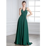 Empire Halter Sweep Train Chiffon Holiday Dress With Ruffle Beading (020025955)