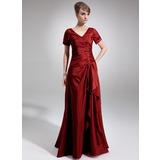Vestidos princesa/ Formato A Decote V Longos Tafetá Vestido para a mãe da noiva com Bordado Lantejoulas Babados em cascata (008006337)