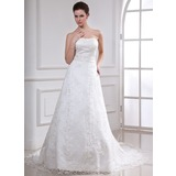 Vestidos princesa/ Formato A Coração Cauda longa Renda Vestido de noiva com Bordado (002000185)