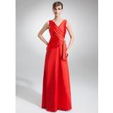 Vestidos princesa/ Formato A Decote V Longos Charmeuse Vestido de festa com Pregueado Pino flor crystal (017002579)