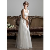 A-Line/Princess Square Neckline Floor-Length Tulle Wedding Dress With Ruffle Beading (002011588)