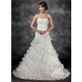 Платье для Балла В виде сердца Церемониальный шлейф Органза Свадебные Платье с кружева Бисер Ниспадающие оборки Плиссированный (002017427)