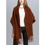 Solid Color/Tassel Cold weather Faux Fur Poncho (204189019)