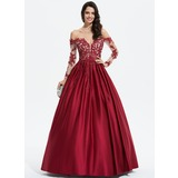 Duchesse-Linie/Princess Off-the-Schulter Bodenlang Satin Abendkleid mit Perlstickerei Pailletten (017196073)