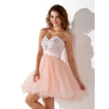Vestidos princesa/ Formato A Coração Curto/Mini Cetim Organza de Vestido de boas vindas com Bordado Lantejoulas (022009078)