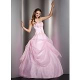 Duchesse-Linie Herzausschnitt Bodenlang Organza Quinceañera Kleid (Kleid für die Geburtstagsfeier) mit Spitze Perlen verziert (021004728)
