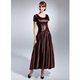 Vestidos princesa/ Formato A Decote redondo Longuete Charmeuse Vestido para a mãe da noiva com Pregueado Bordado (008015054)