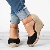 Kvinder Fløjl Kile Hæl sandaler Kiler med Delt Bindeled sko (116200553)