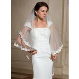 Een-rij Lace Stoffen Rand Wals Bruids Sluiers met Van Toepassing (006024476)