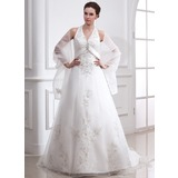 A-Line/Princess Halter Court Train Satin Organza Wedding Dress With Embroidered Beading (002000283)