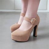 Женщины бархат Устойчивый каблук На каблуках Платформа с Баттон обувь (085209452)