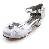 Vrouwen Satijn Low Heel Closed Toe Flats met Strik Bergkristal (047022835)