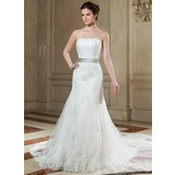 Trumpet/Mermaid Strapless Chapel Train Tulle Wedding Dress With Ruffle Sash Beading Appliques Lace Bow(s) (002000629)