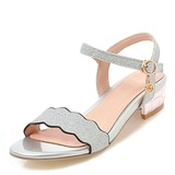 Women's Chunky Heel Sandals With Sequin Buckle shoes (087200107)