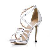 Женщины Лакированная кожа Высокий тонкий каблук Сандалии Открытый мыс обувь (087017925)
