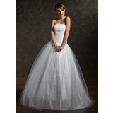 Ball-Gown Strapless Floor-Length Tulle Quinceanera Dress With Ruffle Beading (021002869)